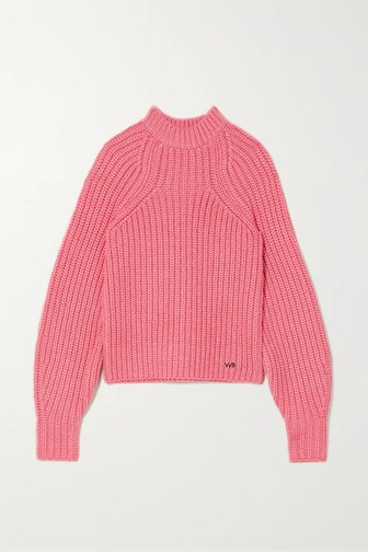 Embroidered Ribbed-Knit Sweater