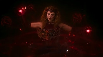 The Scarlet Witch with the Darkhold in the WandaVision finale