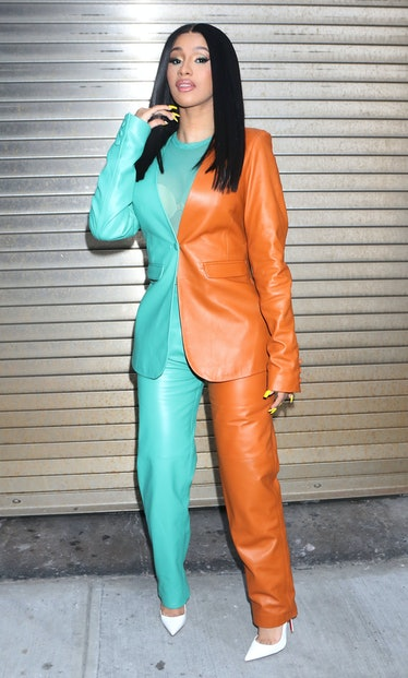 Cardi B in two-tone suit