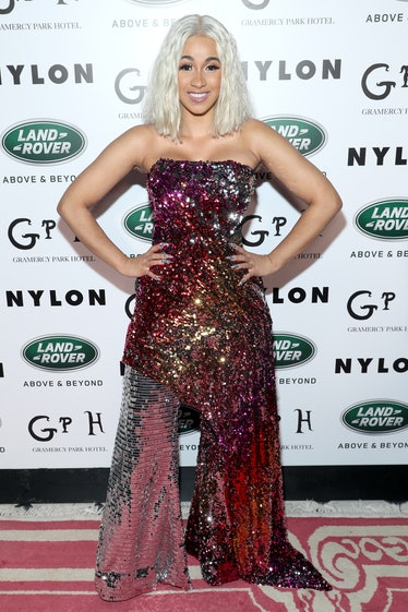 Cardi B in a sparkly jumpsuit situation.