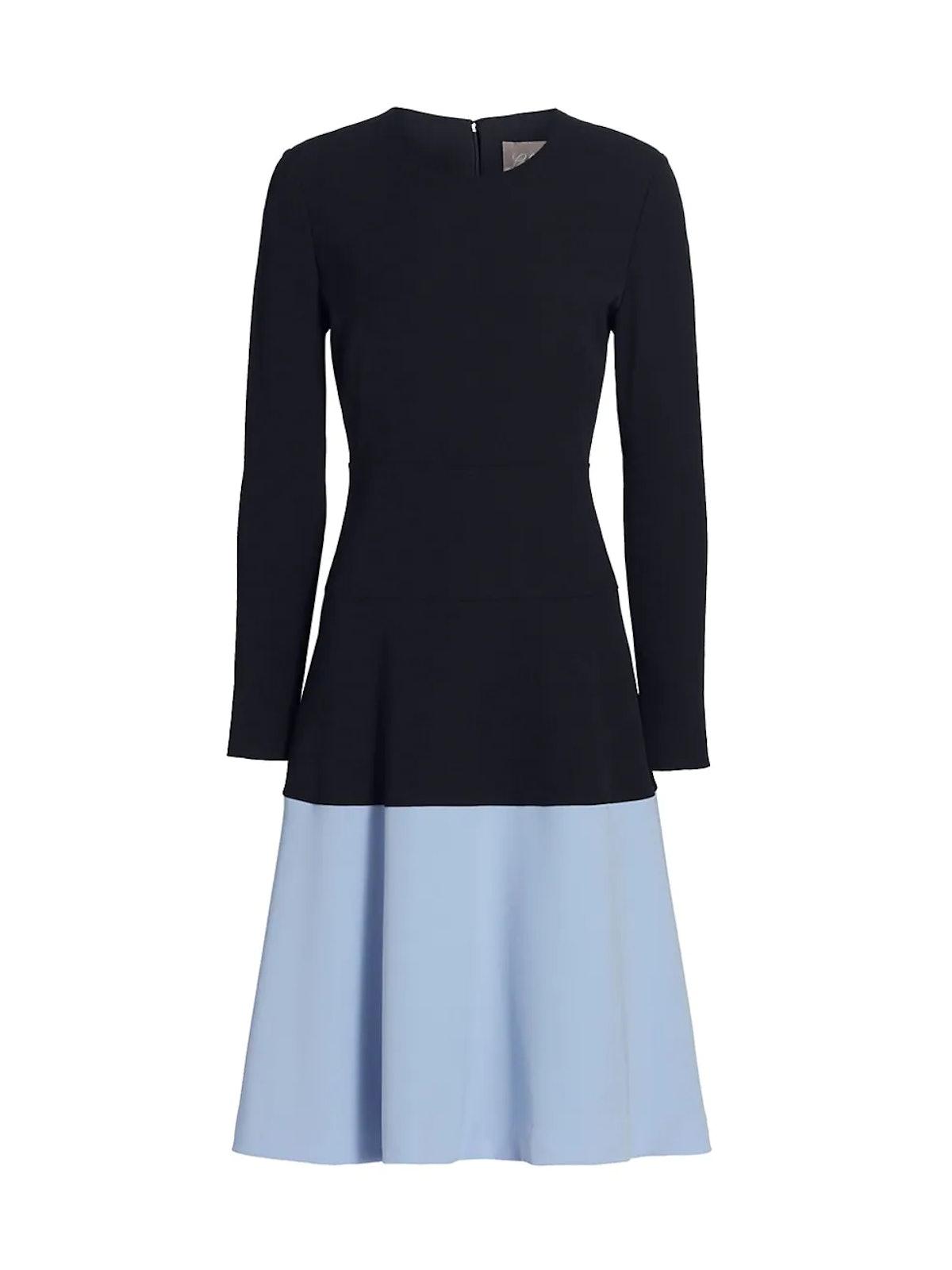 Colorblock Tiered Crepe Midi Dress