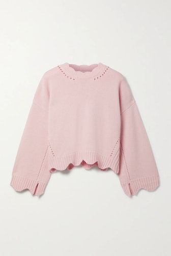 Scalloped Pointelle-Knit Wool And Cashmere-Blend Sweater