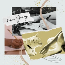 "a collage with ""Dear Jenny,"" two hands writing letters, and an image of a small child's hands reaching out to a cat."
