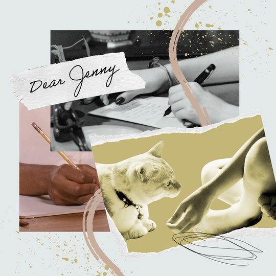 """a collage with """"Dear Jenny,"""" two hands writing letters, and an image of a small child's hands reachi..."""