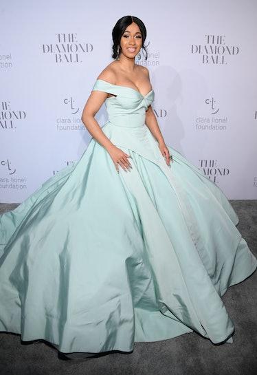 Cardi B in a classic seafoam green ball gown.