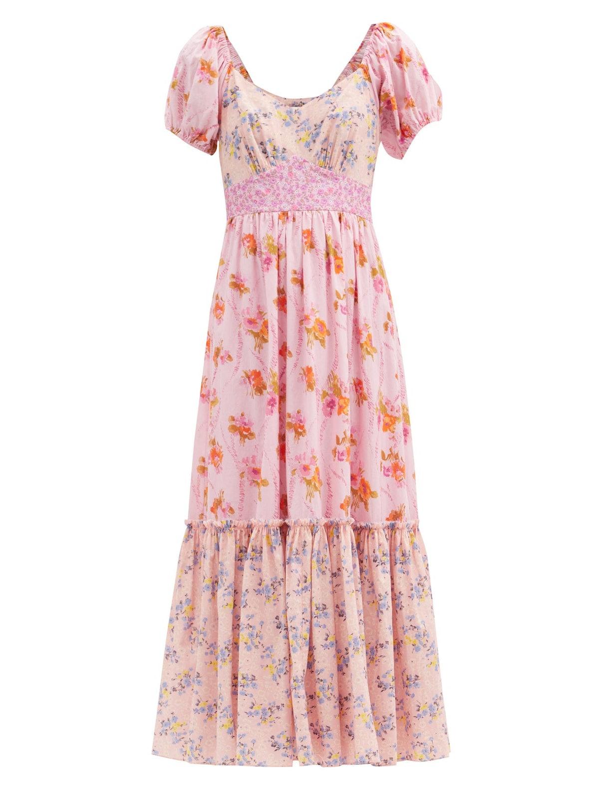 Angie Patchwork Floral-Print Cotton Midi Dress