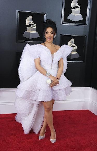 Cardi B in sculptural white gown.