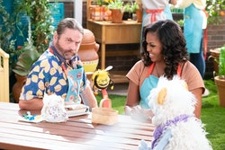 WAFFLES + MOCHI (L to R) ZACH GALIFIANAKIS as GUS, BUSY, MICHELLE OBAMA, and WAFFLES in episode 107 ...