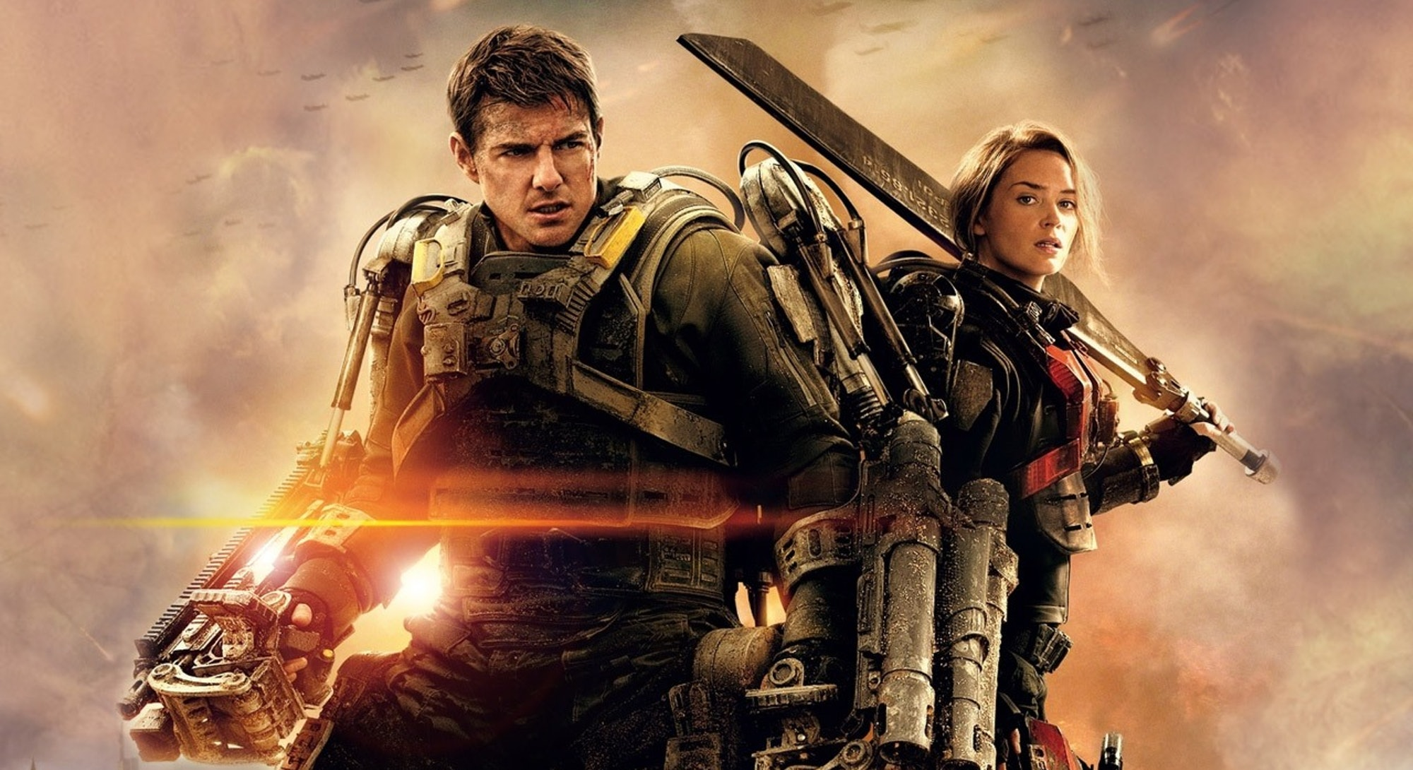 tom cruise and emily blunt in armor posing in live die repeat