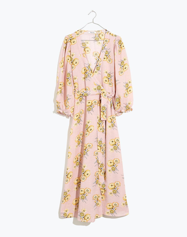 Linen-Blend Ruffle-Cuff Wrap Dress in Dutch Dandelions