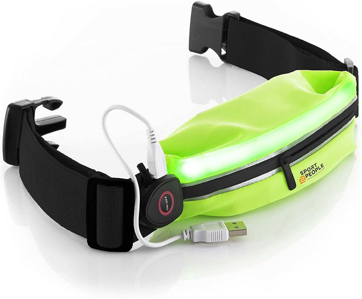 sport2people LED Reflective Running Belt with USB Port