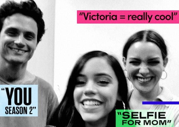 Penn Badgley, Jenna Ortega, and Victoria Pedretti working on You Season 2.
