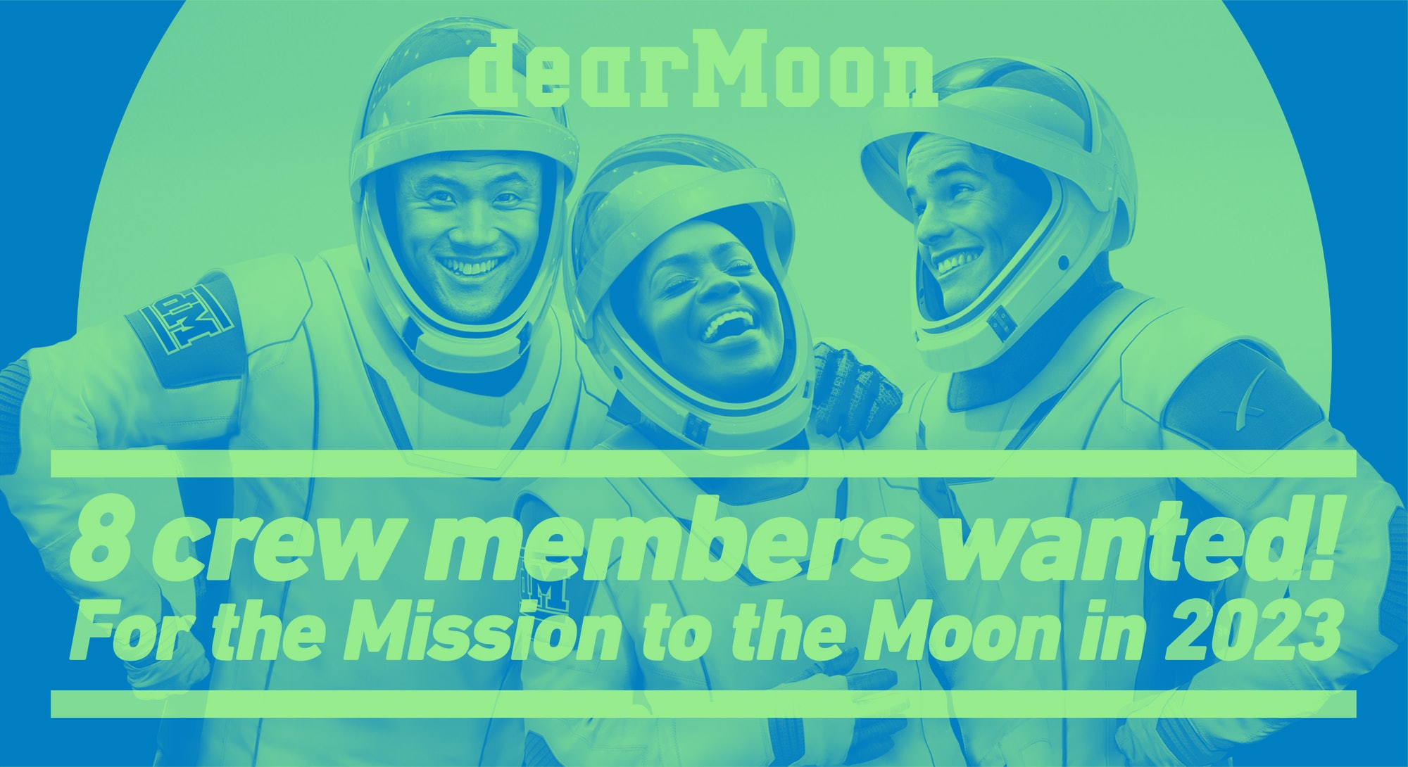 Astronaut graphic for the dearMoon contest to fly around the moon.