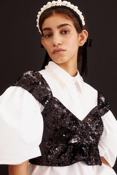 H&M x Simone Rocha Sequinned Crop Top