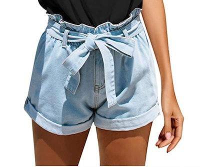 GRAPENT Denim Paper Bag Shorts