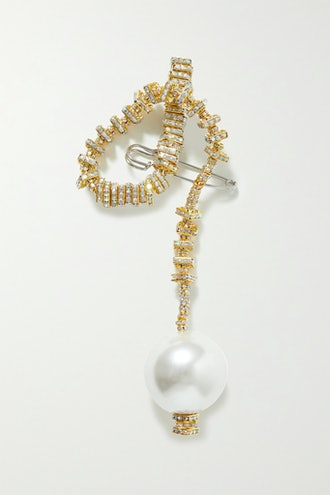 Golden Snake Gold-Plated, Crystal and Faux Pearl Brooch