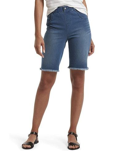 HUE Denim High Waist Bermuda Shorts