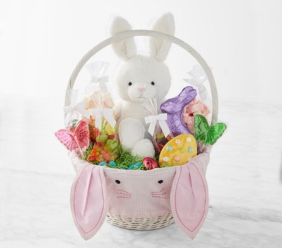 Williams Sonoma & pbk Large Pink Gingham Bunny Face Easter Filled Gift Basket