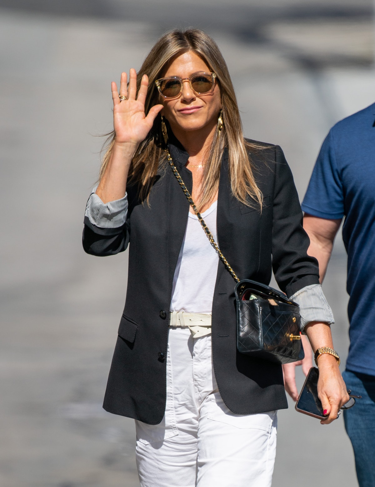 Jennifer Aniston is seen at 'Jimmy Kimmel Live' on May 29, 2019 in Los Angeles, California.