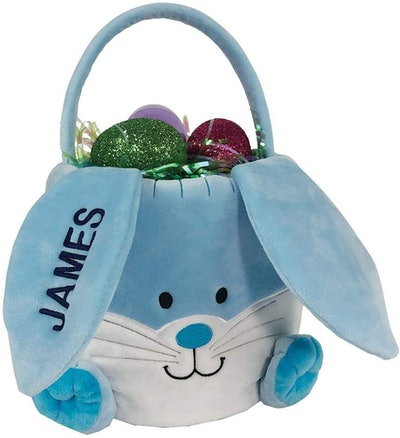 GiftsForYouNow Embroidered Plush Blue Bunny Personalized Easter Basket