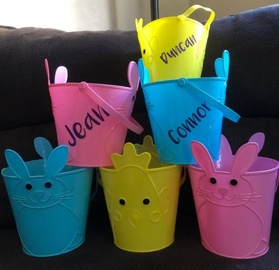 Personalized Light Plastic Easter Buckets with Handles