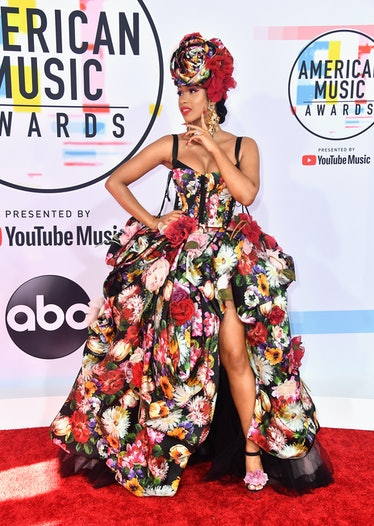 Cardi B in big floral dress.