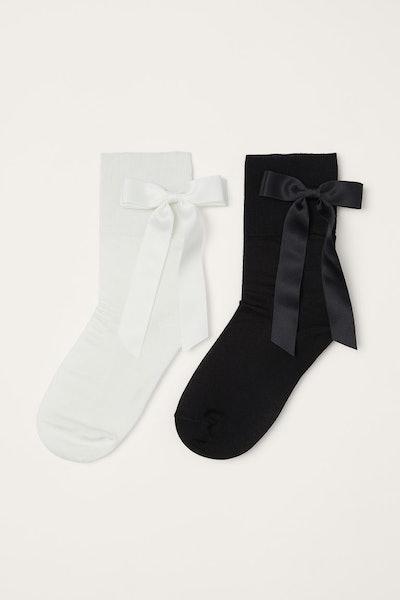 H&M x Simone Rocha 2-Pack Bow-Detail Socks