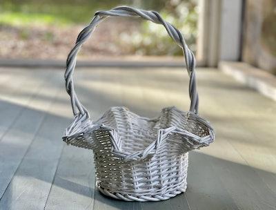 Vintage Ruffled-Edge White Wicker Easter Basket