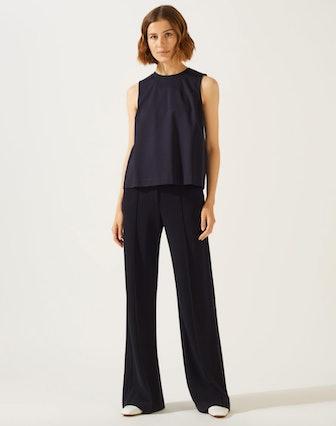 Sport Luxe Jersey Wide Leg Trouser