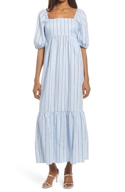 Stripe Puff Sleeve Midi Dress