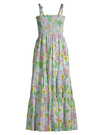 Floral Tie-Shoulder A-Line Maxi Dress