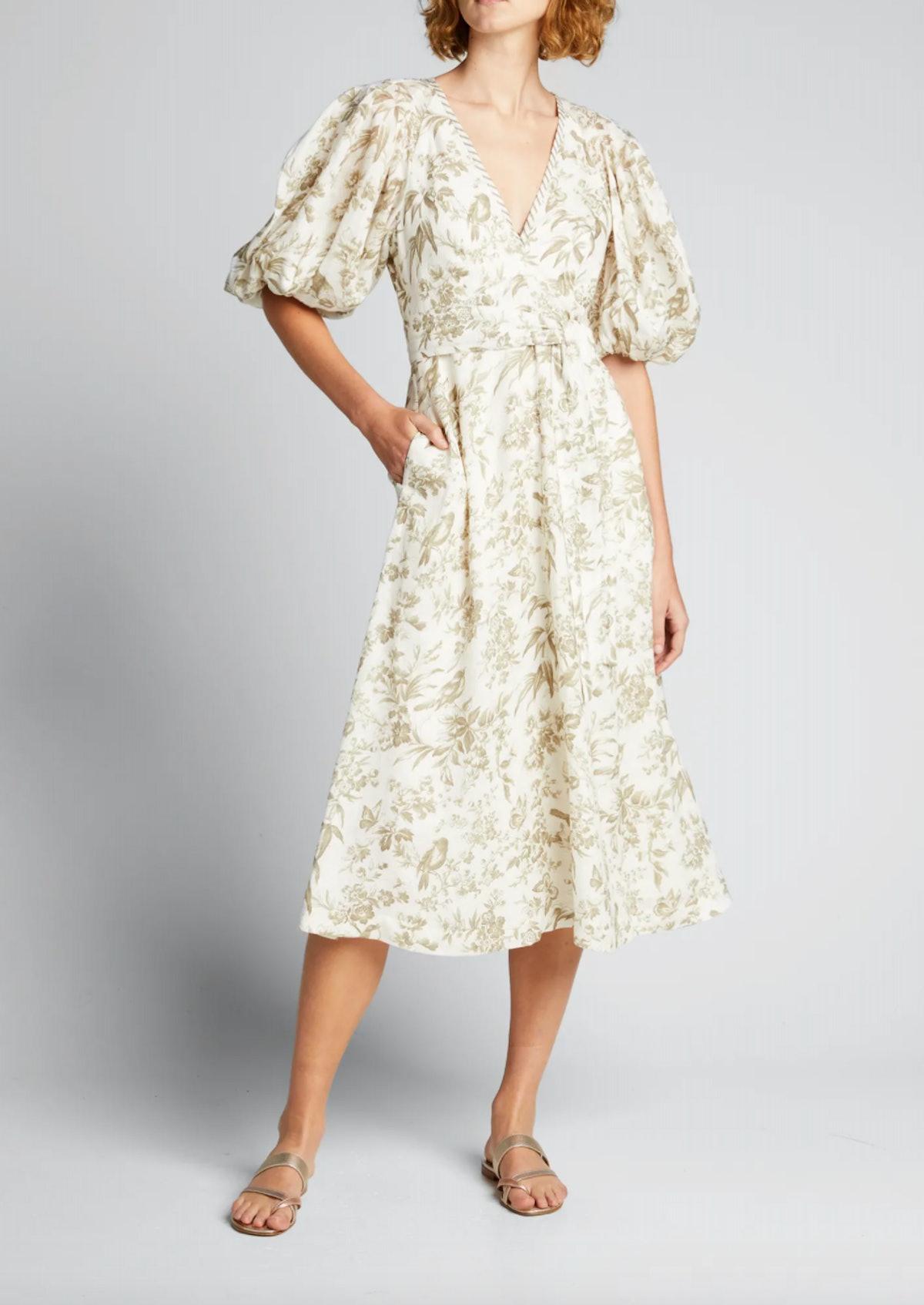 Linen Puff-Sleeve Midi Dress