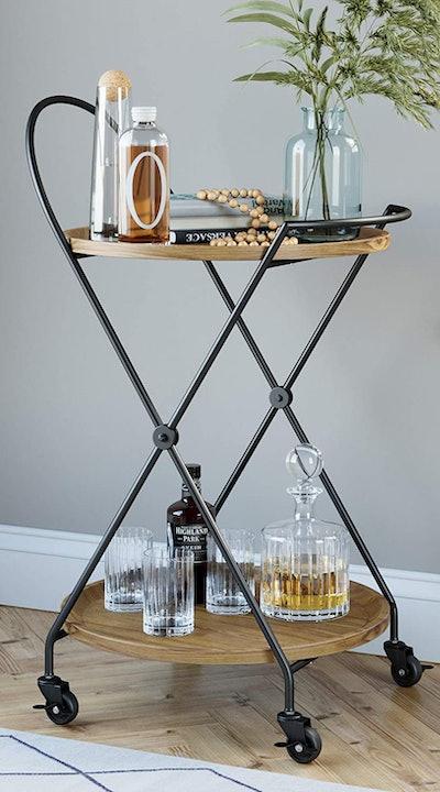 Nathan James Sage Mid-Century Round Bar Cart