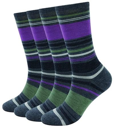 Enerwear Merino Wool Outdoor Hiking Trail Crew Sock (4 Pairs)