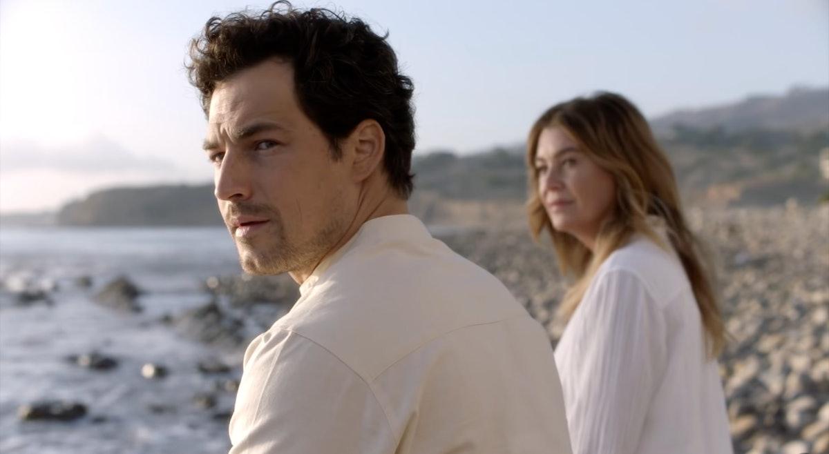 Giacomo Gianniotti as DeLuca and Ellen Pompeo as Meredith Grey in Grey's Anatomy Season 17.