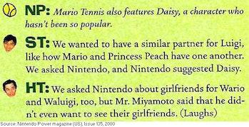 Mario tennis nintendo power interview wario waluigi