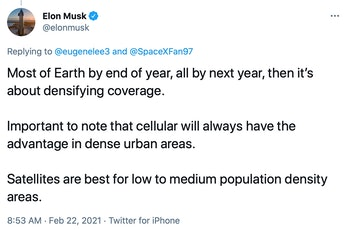 Elon Musk's Twitter post, outlining the company's plans for expanding coverage.