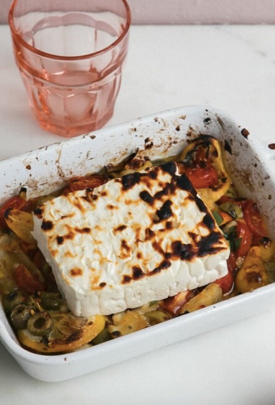 A Cozy Kitchen's baked feta includes olives.
