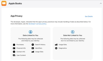 A screenshot for Apple's privacy labels for the Apple Books app. This helps users to see which kind of data Apple gathers on them.