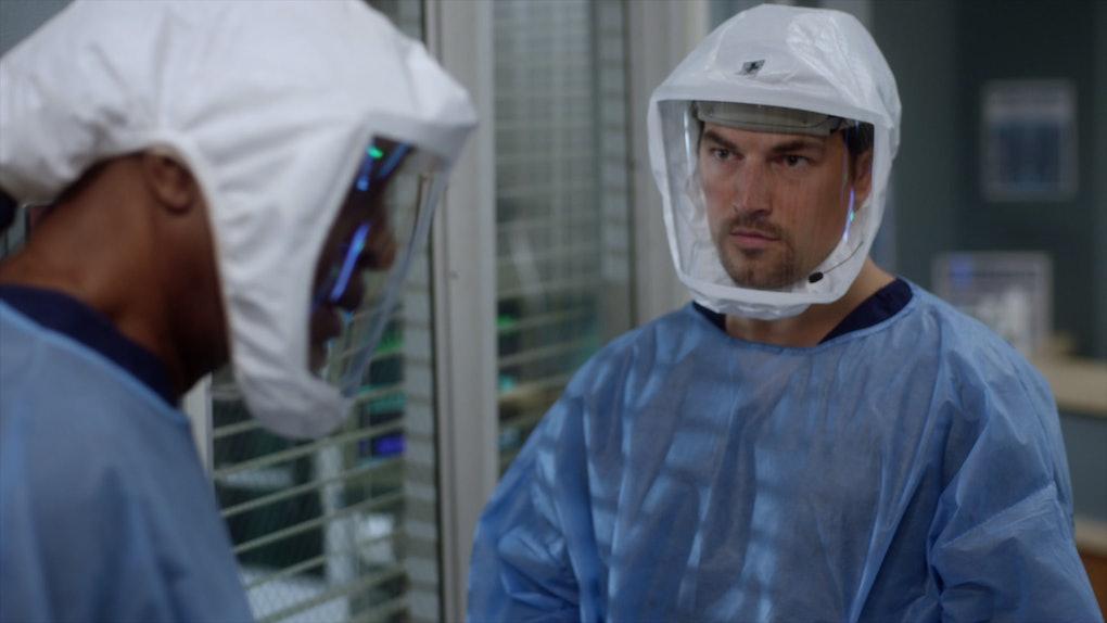 Giacomo Gianniotti as Andrew DeLuca in Grey's Anatomy Season 17.