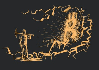 An illustration of bitcoin miners. They can take action to reduce their energy consumption on an ind...