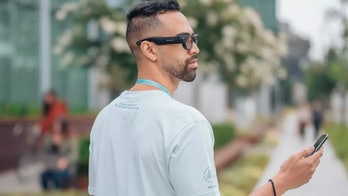 A person wearing a prototype of Facebook's augmented reality glasses.
