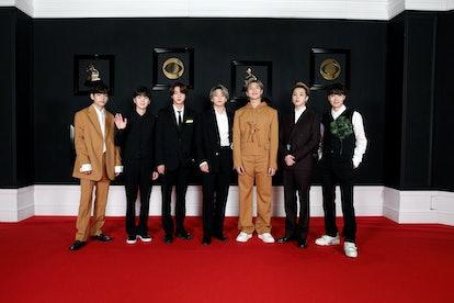 BTS at the 2021 Grammys in Louis Vuitton.