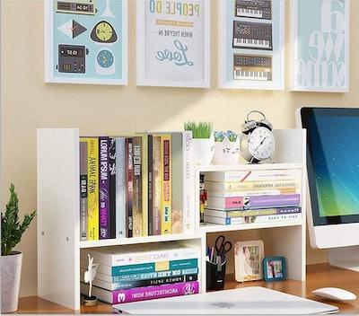 TILEMALL Expandable Wood Desktop Bookshelf