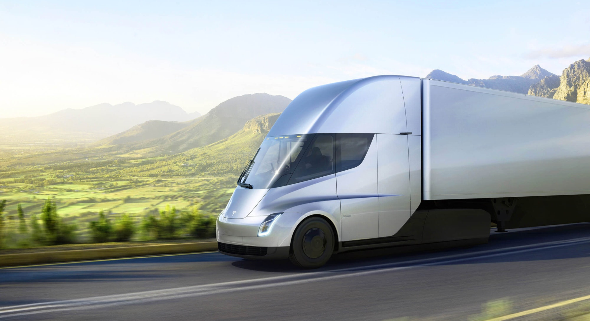 A rendering of the Tesla semi truck.