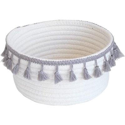 Natural Cotton Rope Decorative Basket
