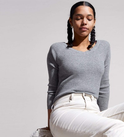 The Ribbed Scoop-Neck Sweater