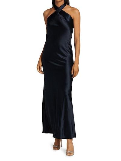 Galvan Eve Floor-Length High-Neck Dress