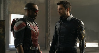 Anthony Mackie as Sam Wilson and Sebastian Stan as Bucky Barnes in Marvel's The Falcon and the Winter Soldier
