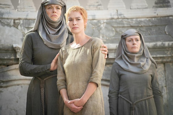 Hannah Waddingham as Septa Unella and Lena Headey as Cersei Lannister in Game of Thrones
